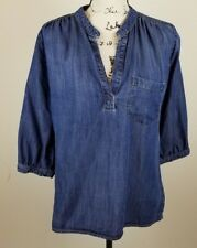 Elevenses Anthropologie Ladies Chambray Blue  Pullover Blouse/Shirt Size Small