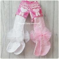 ☆ Baby Girls Large Ribbon Bow Tights Hearts Design - 0-24mths ☆ White & Pink ☆