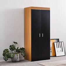 Black 2 Door Double Wardrobe Wooden Effect Shelf Cloth Rail Bedroom Furniture .