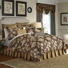 CROSCILL Savannah QUEEN COMFORTER SET 4pc JACOBEAN FLORAL GOLD BROWN CORAL NWT