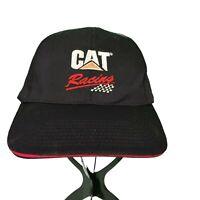 Cat Dozer Racing Caterpillar Black Embroidered Construction Strapback Hat Cap