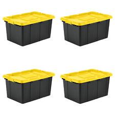 Case of 4 Sterilite 27 Gal Stacker Box Black Storage Container Modular Bins
