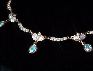 "Swarovski Crystal Crown Teardrop Necklace with Great Vivid Colors-16 1/2 x 1 """