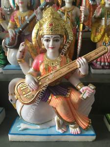 Marble Maa Saraswati Religious Hand Painted Statue Study Room Decor Gift E1429