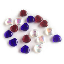 Patriotic Heart Beads Czech Glass Red White Blue 4th of July Labor Day DIY charm