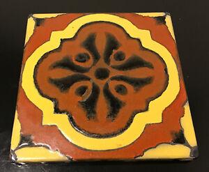 """Pottery Tile California Catalina Original Antique Signed Drip Glaze 6"""""""