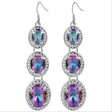Gorgeous Multi Natural Mystic Fire Topaz Gems Silver Dangle Hook Earrings 2.75""