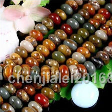 Natural Multi-color Picasso Jasper Gems Rondelle Abacus 5X8mm beads 15""