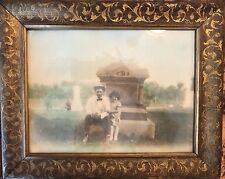 Antique Framed Color Photograph Man and Child at Grave Yard Ornate Frame