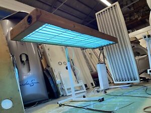 8 tube pine 100watt Wooden Canopy Sunbed CAN DELIVER MOST OF UK