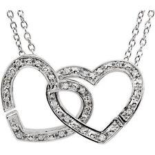 Diamante 2-in-1 ENTRELAZADO Corazón 45.7cm Collar Plata de ley 925 ( 1/6 Ct. TW