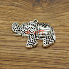 5 Large Elephant Animal Zoo Metal Charms Pendants Antique Silver Tone 45x32 3157