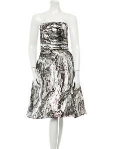 MONIQUE LHUILLIER Strapless Black Silver Marble DRESS US 8 / AU 10 12 MEDIUM