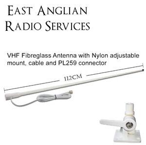 3DB Gain 1m Fibreglass VHF Radio Marine Antenna  156-162Mhz with adjustable base