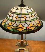 "VINTAGE 19"" ART DECO BRASS BASE LAMP W/ 13 1/2"" DIAMETER STAIN GLASS SHADE"