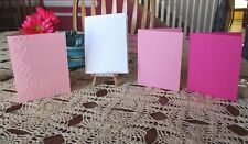 4 EMBOSSED BLANK VALENTINE'S DAY GREETING CARDS ~HANDMADE ASSORTED COLORS#3-18