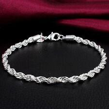 Fashion Women Men Unisex 925 Silver Plated Twisted Rope Bangle Bracelet Chain