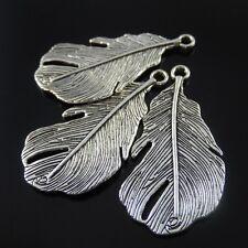 01298 Vintage style silver tone alloy large leaf pendant charms 10pcs