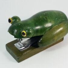 Wooden Green Frog Stapler (Jared 9/93) Figural Office Desk