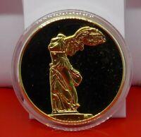 Gold Plated Bronze Medal Medallion Greek Greece Art Winged Victory Of Samothrace