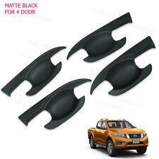 Door Handle Bowl Insert Cover Matte Black 4 Pc For Nissan Np300 Navara 2012 - 17