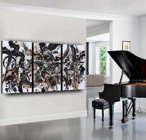 Black Abstract Art original Painting 3 Panels Contemporary Art, Nandita