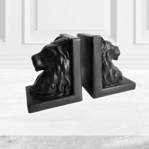 Black Pair of Book Ends Bookends Ceramic Lion Heads Ornament Home Decor Gift