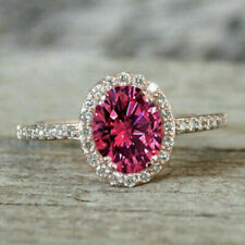 2Ct Oval-Cut Pink Sapphire And Diamond Halo Engagement Ring 14K Rose Gold Finish