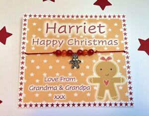 Gingerbread Man Wish Bracelet, Personalised Gift,Secret Santa, Christmas Eve Box