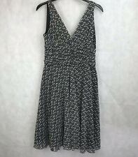 Dorothy Perkins Dress Lined UK 14 Black/White Sleeveless Full Skirt