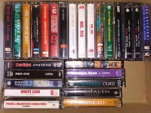 25 Rock Metal glam Cassette Job Lot bundle Satriani Van Halen Roth Vai Moore 90s