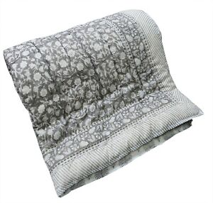 Indian Cotton Reversible Winter Razai Quilt Throw Ethnic Coverlet Floral Printed