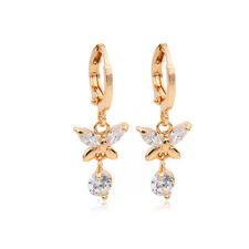 Butterfly Dangle Drop Hoop Earrings 18k Gold Plated Filled Zircon Crystal