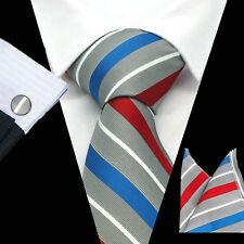 New style Mens 100% Silk Neckties Tie Hanky Cufflinks Sets Free S&H Start CN-136