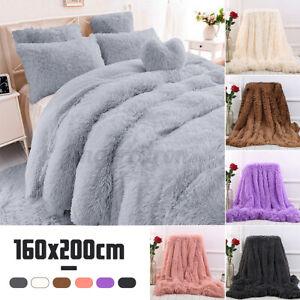 Thicken Warm Fluffy Long Pile Plush Shaggy Blanket Soft Throw Rug 160X200cm Gift