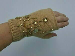 Ladies Womens Knitted Warm Wool Arm Wrist Warmer Gloves Fingerless 2809