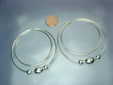 925 Silber Creolen 57 / 48 mm Durchmesser GROSS zweifach KUGELN  NEU