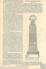 Celtic Cross Carew Croix Celtte Pembrokeshire Sir Benfro UK GRAVURE PRINT 1870
