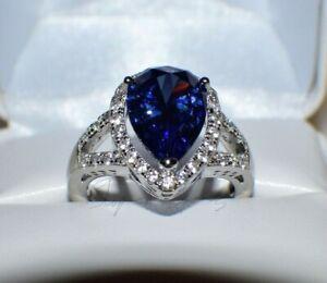 7.67 ct PREMIUM AAA TANZANITE & 36 DIAMONDS WEDDING GYPSY 14K W GOLD PLATED 8.