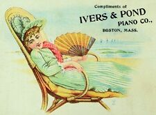 1870's-80's Ivers & Pond Piano Co Lady beach Chair Hervey Jefferson, OH Card *F