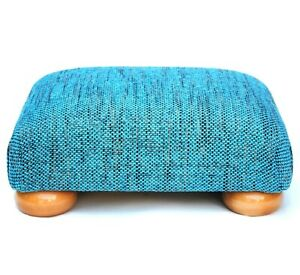 Biagi Upholstery & Design Champagne Turquoise Low Footstool - CLEARANCE PRICE