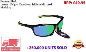 RayZor Black Sports Wrap Sunglasses Uv400 Vented Green Mirrored Lens (401