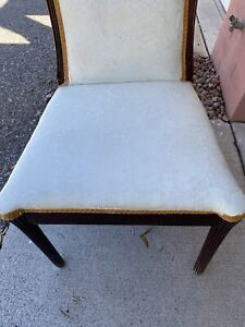 French Art Deco White Brocade Upholstered Mahogany Side Chair