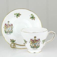 Duchess Royal Coat of Arms of Canada Tea Cup & Saucer Bone China Maple Leaves