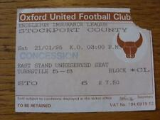 21/01/1995 Ticket: Oxford United v Manchester City (Corner Torn Off). Item In ve