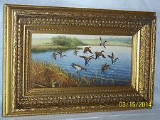 American Landscape Migrate Ducks Original Oil On Panel w/Gold Gilded Wood Frame