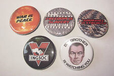 """1984 George Orwell Big Brother INGSOC Lot of 5 1 1/4"""" Magnets !!"""