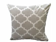 """1 16"""" Cushion Cover in Moroccan Trellis Col Grey Cotton With Zip Tile Quatrefoil"""