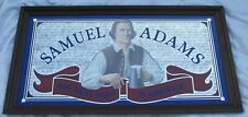 "Samuel Adams Beer Mirror Bar Pub Sign Big Beautiful Wood Frame 52"" x 28"""