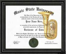 Tuba Lover's Doctorate Diploma / Degree Custom made & Designed for you UNIQUE
